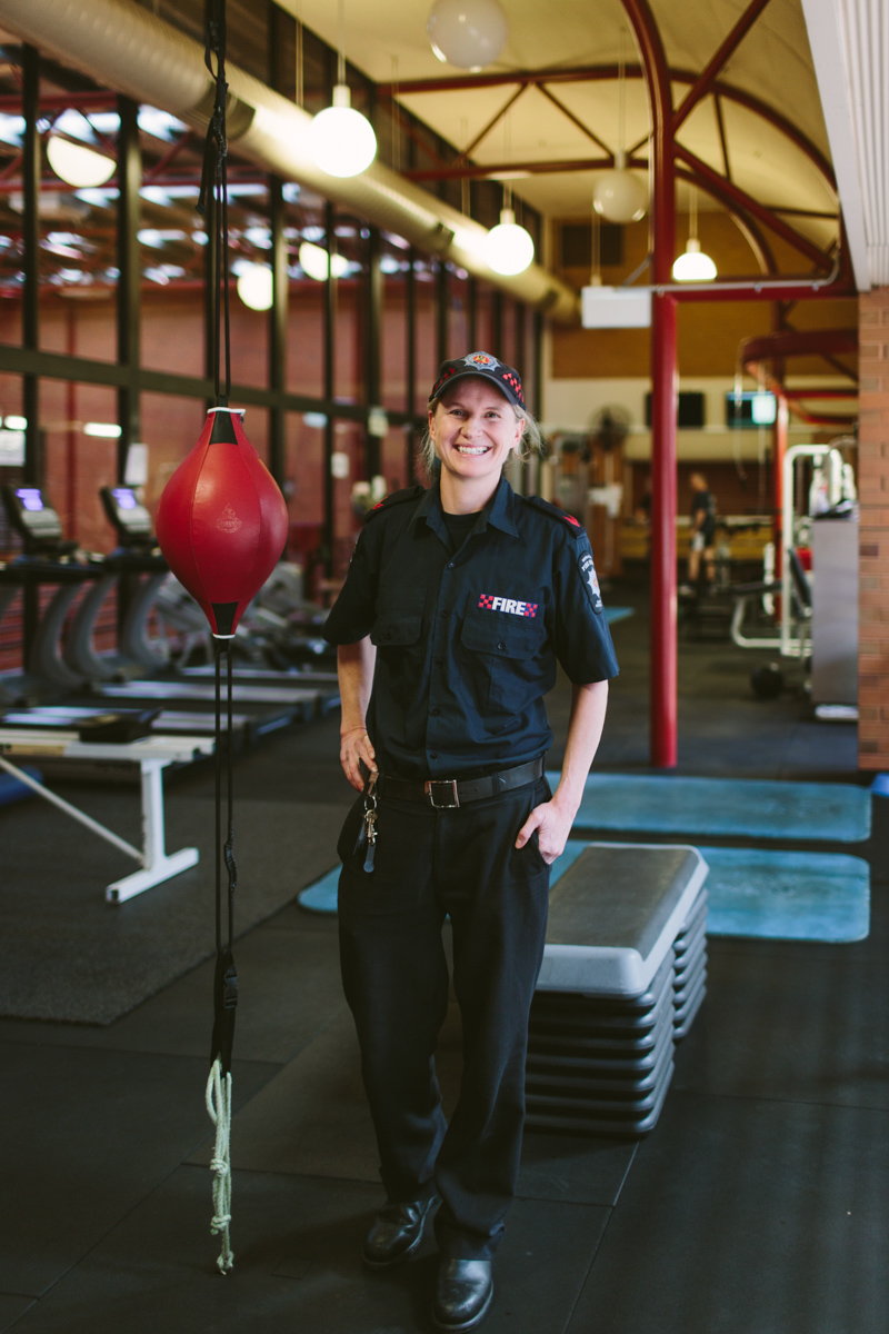 Jo-Anna Kenney in the gym at the Wakefield Street fire station, where she is based